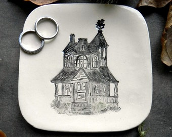 Haunted House Ceramic Plate Black and White Building Pottery Square Ring Dish Halloween Decoration