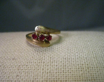 Vintage 14kt Gold Triple Ruby By-Pass/Wrapped  Ring, size 6.5