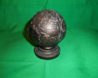 One (1), High Relief, Cast White (Slush) Metal, Globe Bank.