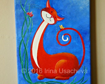 "Original Fantasy Cat Acrylic Painting for Sale ""Happy Cat in Orange with Butterflies"""