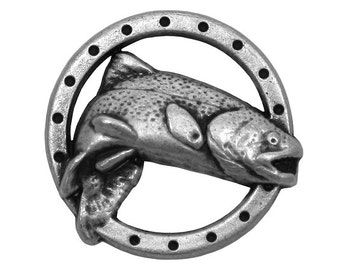 30 Trout Fish 3/4 inch ( 19 mm ) Metal Buttons Silver Color