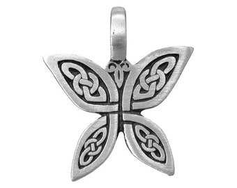 Celtic Butterfly 1.25 inch ( 32 mm ) Pewter Pendant