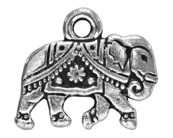 6 TierraCast Gita Elephant 9/16 inch ( 14 mm ) Silver Plated Pewter Charms Pendants