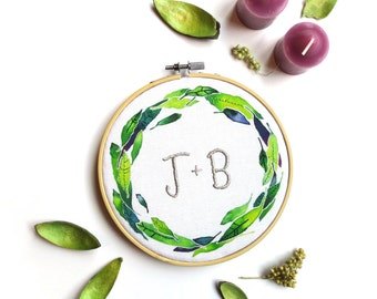 Embroidered Initials, Unique Wedding Gift, Engagement Gift, Personalized Embroidery Hoop Art, Anniversary Gift for Her, Modern Rustic Decor