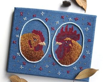 Hen & Rooster Kitchen Decor, Farmhouse Art, Country Home Decor, Country Kitchen Housewarming Gift, Farm Animals, Bird Artwork, Chicken