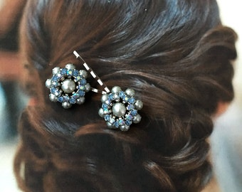 Decorative Hair Pins 1940's Bridal Blue Jewelry Pearls AB Aurora Borealis Hairpins Bobby Regency Wedding