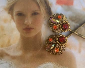 West Germany Reign Bridal Hair Pins 1930 1940 Renaissance Bridal Wedding Red Orange AB Rhinestone Filigree Decorative Hairpins Bobby