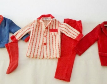 Vintage Ideal Tammy's Dad Clothes, Pajamas #9456-5, Red Socks, Shirt, Jacket, Tammy Doll Family, 1960s. Ideal Doll Clothes, Tammy Doll