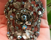 Signed MUSI SHOE CLIP buckle -- Perfect Bracelet Component upcycling project --- rhinestones and ornate metal work