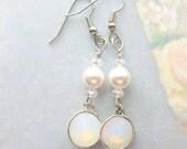 Bridal Bangle and Drop Earrings - Bridal Swarovski Earring - White Opal Dangle & Drop Earrings - Bridesmaid Jewelry - White Wedding Earrings