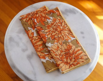 Delightful Cloth Napkins with Flower Designs -- Vintage Linen Napkins with Orange & Green Floral Pattern -- Groovy Retro Linens