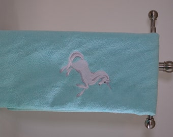 Embroidered hand towel-light Blue- Unicorn Microfiber Kitchen Towel