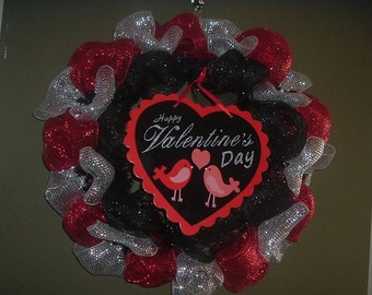 Red and White Mesh Valentine Wreath
