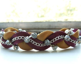 Gold and Oxblood Braided Ribbon & Chain Bracelet