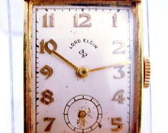 vintage lord elgin watch vintage 14k yellow gold gold 1940s mens lord elgin asymmetrical case wrist watch