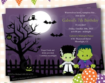 Frankenstein Birthday Invitations, Halloween Birthday Invitations, Costume Party Halloween Invites, Halloween Birthday Invitations - H10