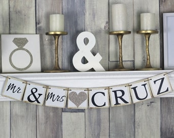 Mr and Mrs Sign, Mr and Mrs Banner, Wedding Banner, Engagment Party Banner, Engagement Party Decor, Sweetheart Table Decor, Bridal shower