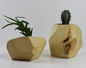 Large Faceted Reclaimed Spruce Succulent Planter