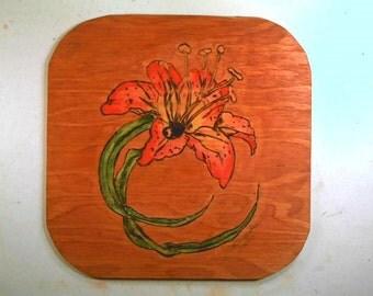 Pyrography,wood burning,Flower handmade wall plaque