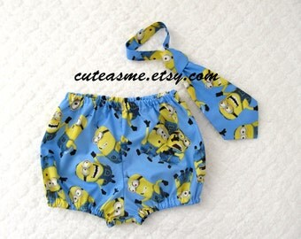 Cake Smash Birthday 2 Piece Outfit Minion Diaper Cover Tie Bloomers Photoshoot Infant Toddler First Birthday Boy Birthday Photo prop