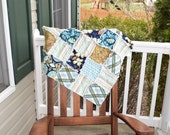 Baby Rag Quilt- Ready to ship quilt,blue rag quilt, modern rag quilt, beautiful baby quilt, new baby quilt, yellow rag quilt, girl quilt