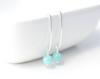 Aqua Blue Quartzite and Sterling Silver Handcrafted Earrings / Turquoise Green / Sterling Silver Bar Earrings / Summer Jewelry