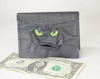 Leather Wallet Bi-Fold Monster Face Black Leather Credit Card Holder