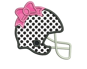 Football Helmet Bow Applique Embroidery Design - Instant Download