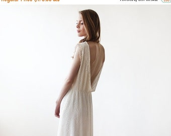 Sleeveless Ivory backless lace maxi wedding dress, Lace wedding dress, Maxi lace wedding dress