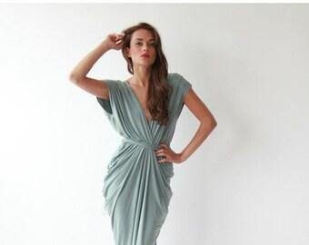 Formal maxi bridesmaids sage color dress , Sage maxi gown