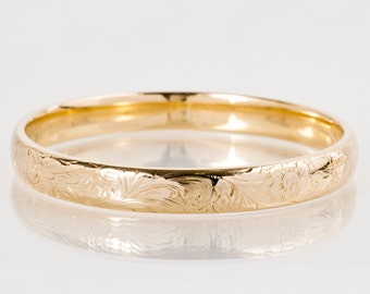 Antique Bangle - Antique 14k Rose Gold Engraved Bangle Bracelet