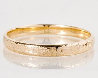 Antique Bangle - Antique 14k Rose Gold Engraved Bangle Bracelet