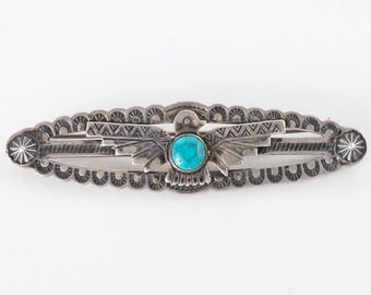Turquoise Pin - Vintage Native American Sterling Silver Turquoise Pin
