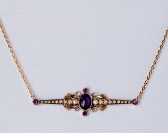 Victorian Amethyst and Seed Pearl Necklace