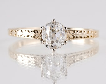 Antique Engagement Ring - Antique 14K White and Yellow Gold Solitaire Diamond Engagement Ring