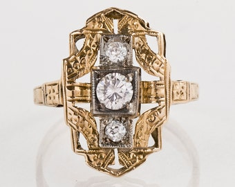 Antique Ring - Antique 14k Two-Tone 3-Stone Diamond Ring