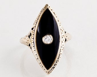 Antique Ring - Antique 14 Karat Yellow Gold Diamond and Onyx Ring