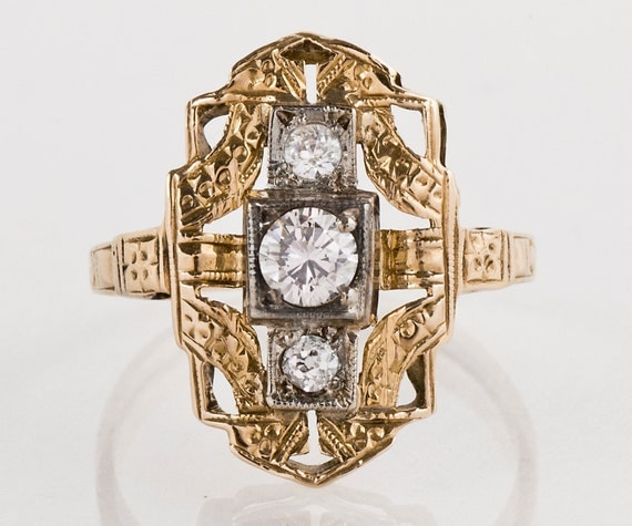 Antique Ring - Antique 14k Two-Tone 3-Stone Diamond Ring