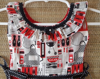 BBQ Season in Red Black and White Ruffle Oven Door Kitchen Dish Towel Dress