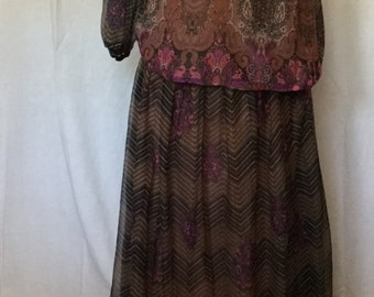 70's 2 pc outfit with top and floor length skirt