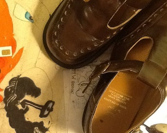Vintage 90's Doc Martens Mary Janes Brown Leather
