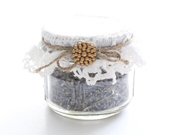 Upcycled Mason Jar French Dried Lavender Shabby Chic Boudoir / Vanity Decor