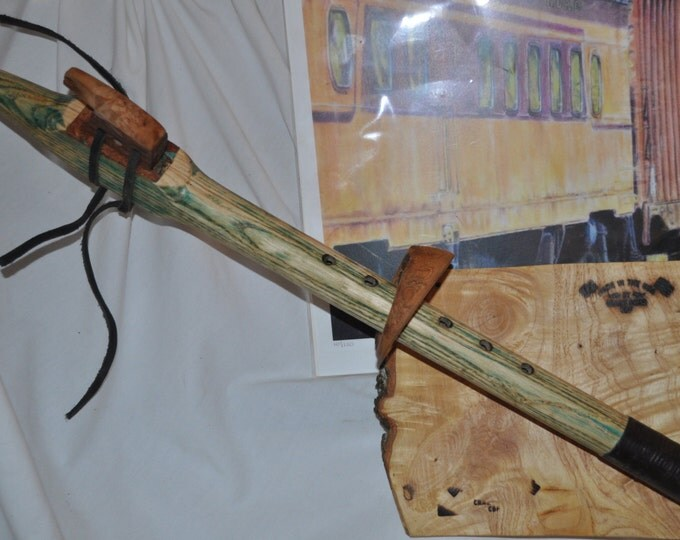 Native American Style Flute G scale Green rustic Dyed  Ash By Crazy Bear (CBF)