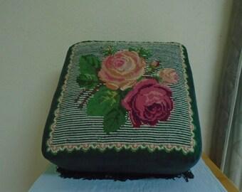 Vintage Foot Stool / Needle Point / Roses / Beautiful!