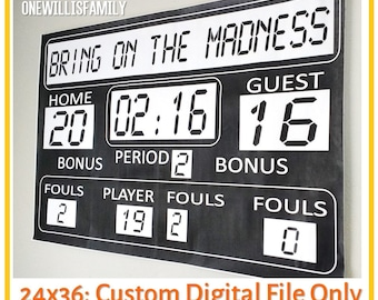 Basketball Birthday or March Madness Printable Scoreboard 36x24, digital file only