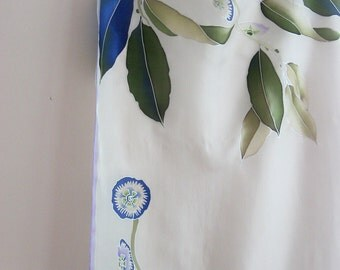 Botanical silk scarf hand painted Wedding wearable art - ready to ship