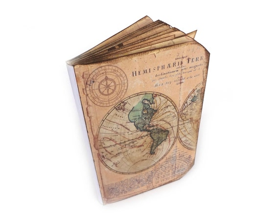 Travel Journal, Old World Map Scrapbook, Wanderlust, Vacation Log, Vintage Maps, Memory Book, Travel Gifts, MADE TO ORDER