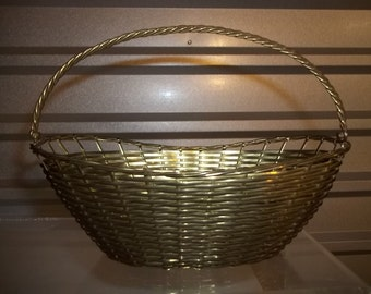 Vintage 50's Brass Basket Wire Handle, Hand Made In India, Hand Woven Brass, Woven Brass Basket, Free Shipping