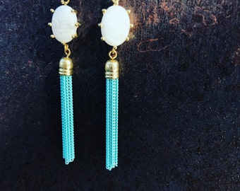 Milky Quartz with Aqua Tassle Necklace // Tassle Earrings