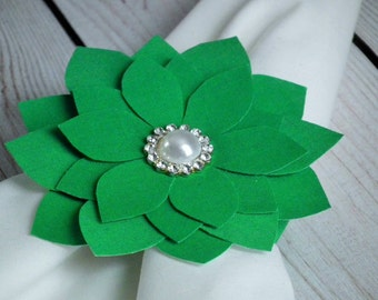 On clearance, single napkin ring, KELLY GREEN fabric flower napkin ring with elastic band and faux pearl & rhinestone, ready to ship